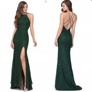 Long emerald green lace dress with slit sz 10 NWT